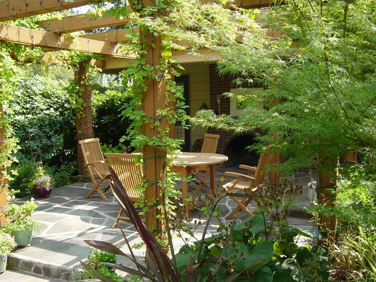 Pergola With Vines : Pergola with vines and bushes.  Landscaping  Pinterest