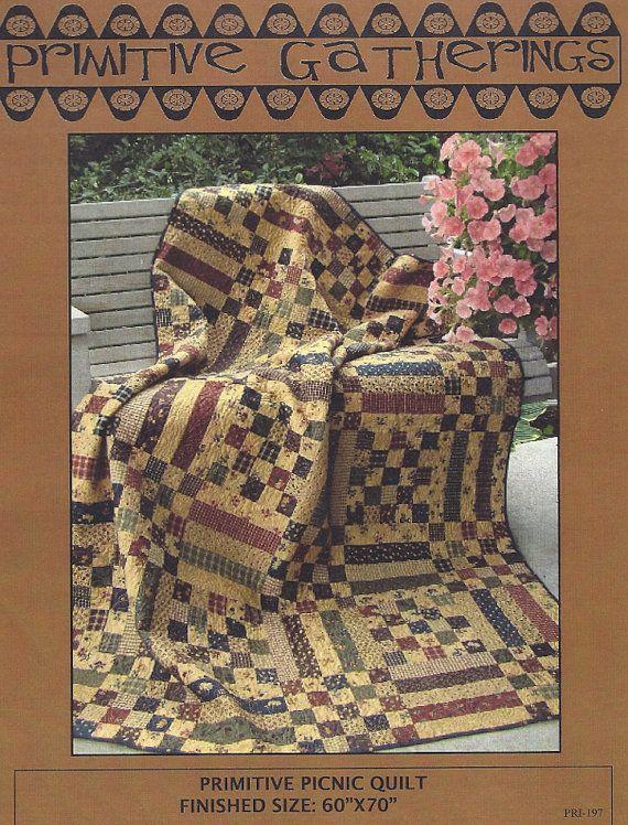 Primitive Folk Art Quilt Pattern: PRIMITIVE PICNIC QUILT
