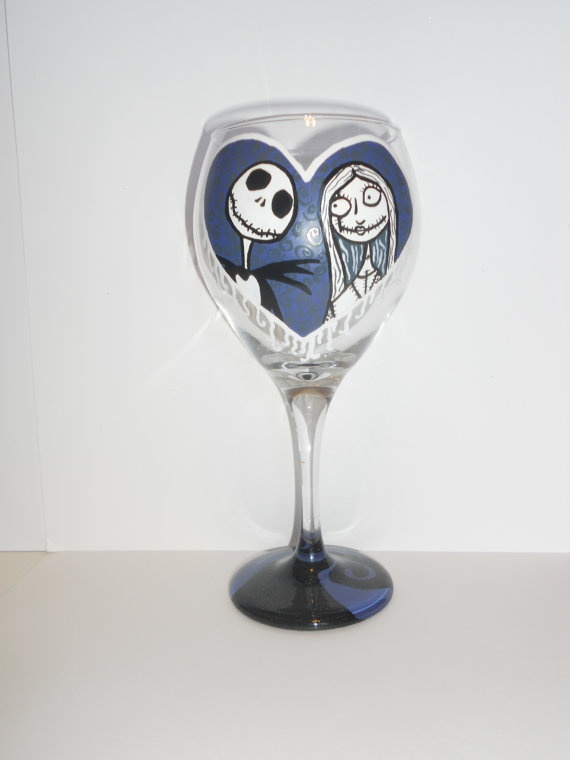 nightmare before christmas wine glass by SimplyDez on Etsy, $18.50