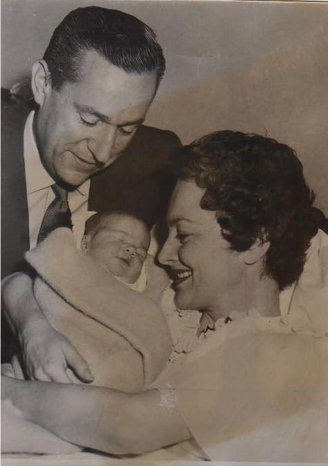 Olivia de Havilland, husband Pierre Galante and daughter Gisele in 1956