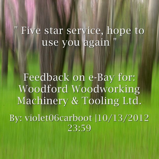 ... to use you again. ~violet06carboot http://stores.ebay.co.uk/woodfordwm