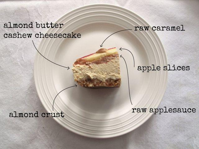 raw almond butter and caramel apple cheesecake // veggienook.com