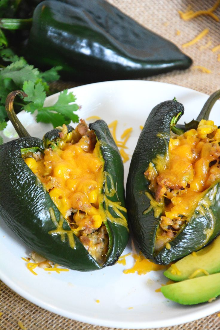Roasted Green Chile Chicken Sausage Corn Stuffed Poblano Peppers | The ...