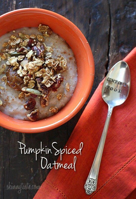 Pumpkin spiced oatmeal from SkinnyTaste | Breakfast/Brunch | Pinterest