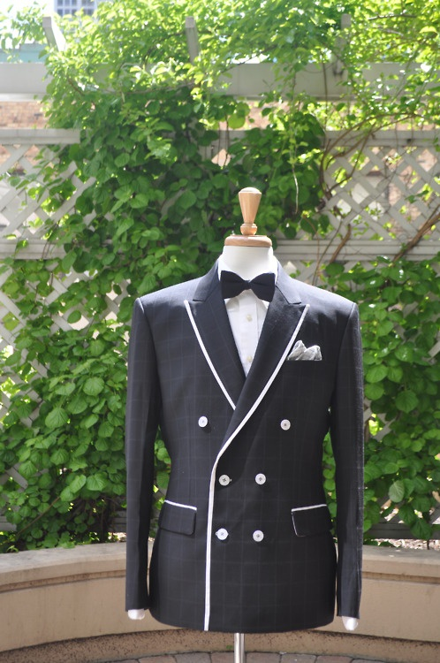 Black with white windowpane 6-2 double breasted Jacket from J.Toor Chicago.