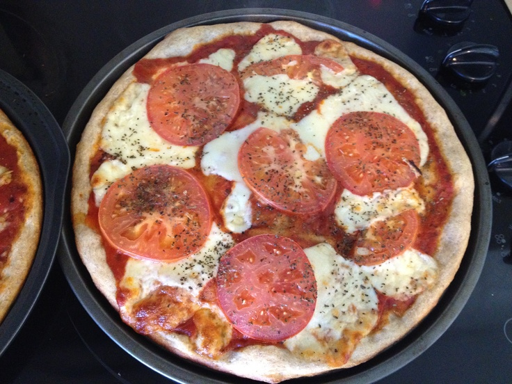 Tomato & Mozzarella Pizza - Whole wheat pizza crust - Sliced tomatoes ...
