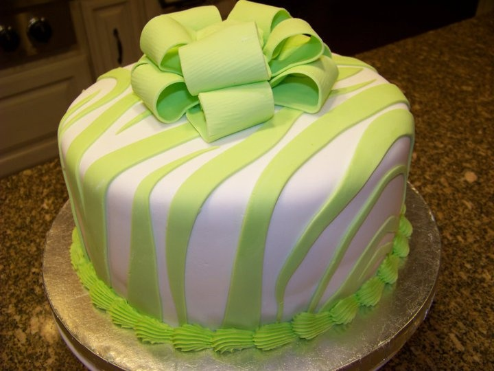 Lime green zebra print cake  recipes  Pinterest