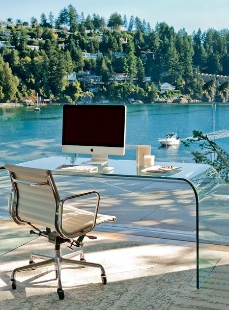 Office On The Water    This spectacular workspace seems to float above the bay.    Not for the easily distracted, Zacharkos office design features panoramic views of the waterfront. A glass waterfall desk disappears against the window, keeping with the ethereal feel of the holiday home.    Designer: David Zacharko  David Yustin Novoline