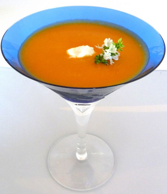 chilled creamy carrot + sweet potato soup