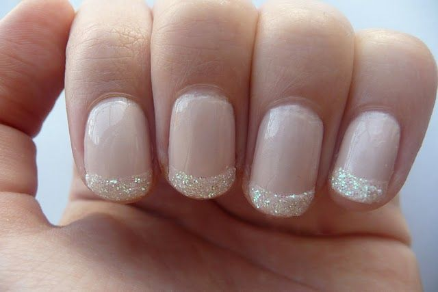 Glitter tips.Would be lovely for a wedding!