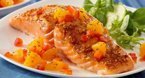 Recipe Inspirations Citrus Baked Salmon with Orange Salsa #FishFriday
