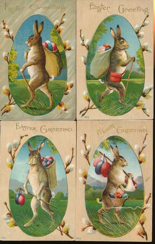 Lot of 4 Big Brown Rabbits Antique Easter Postcards GGG795 | eBay