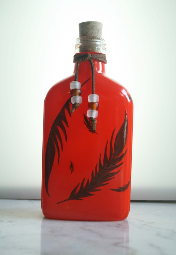 Orange Feather Flask Or Decorative Bottle With Cork Or