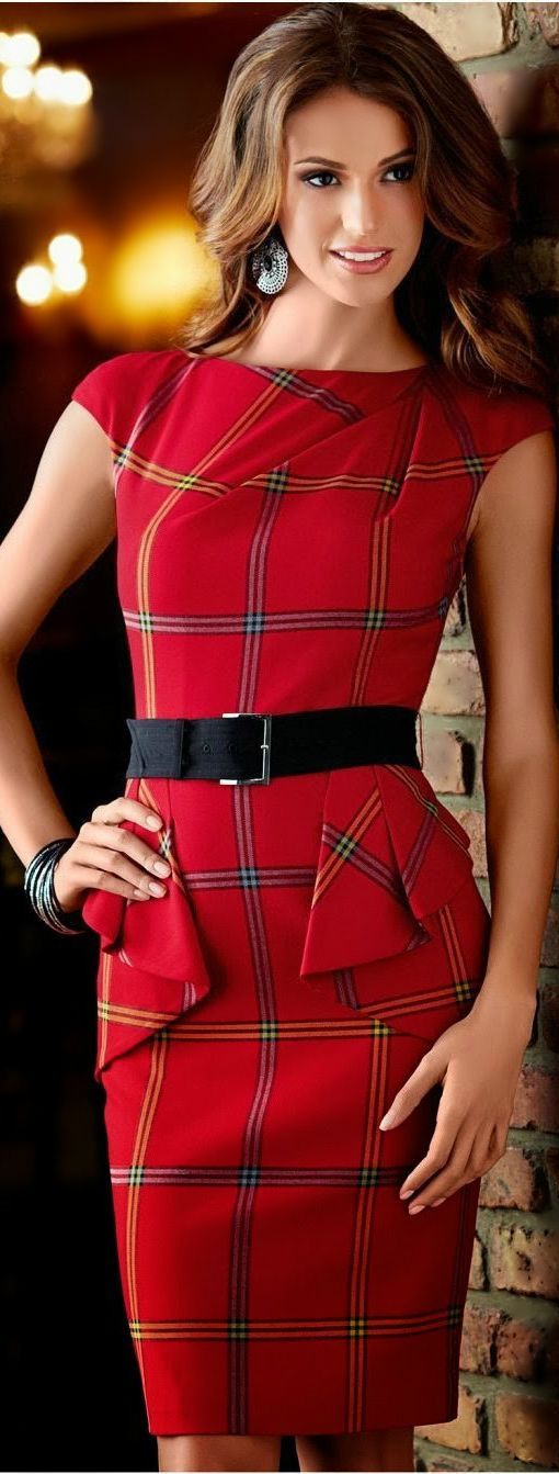 Tartan print peplum red dress @}-,-;--