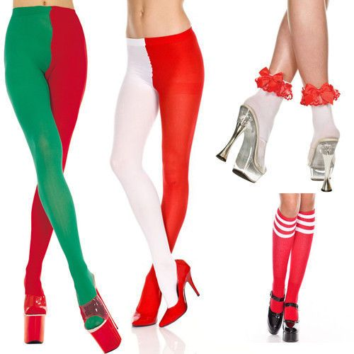 Christmas tights stockings socks dress costume accessories red green