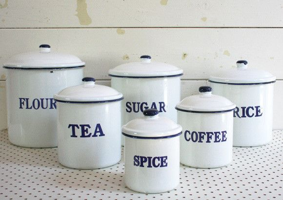 enamel kitchen canisters set 6 white