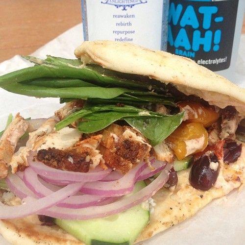 Sandwich (Hummus,Kalamata Olives,Feta,Spinach,Roasted Chicken on Naan ...