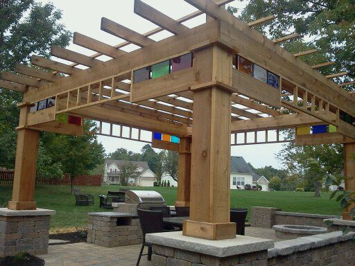 Glass block pergola backyard pinterest - Glas pergola ...