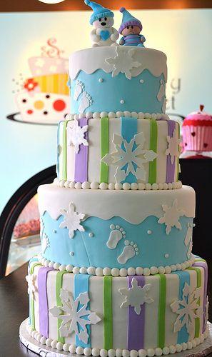 snowflake winter themed baby shower birthday cakes pinterest