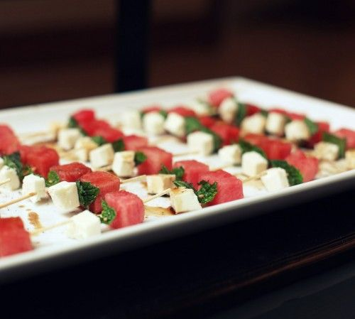 watermelon, feta & mint skewers | Appetizers | Pinterest