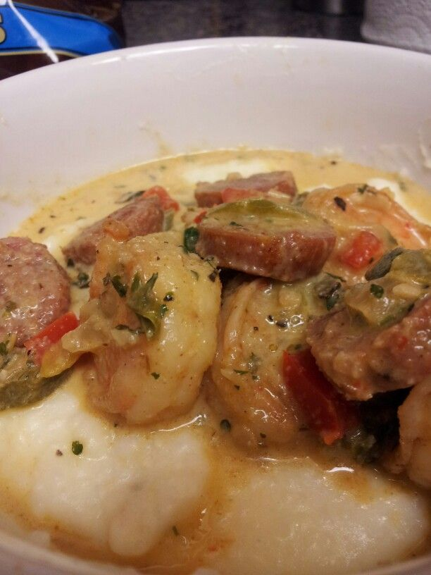 Spicy Shrimp & Andouille over Charleston Style Grits (Shrimp and Grits ...