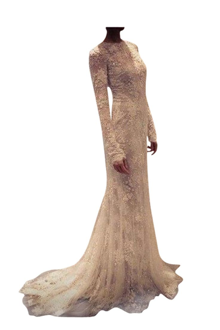 Beige long sleeve wedding dress renewal of vows ideas for Long sleeve wedding dresses pinterest