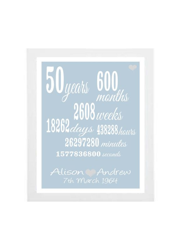Personalised 50th Wedding Anniversary Gift : 50th anniversary giftpersonalised anniversary print- anniversary p ...