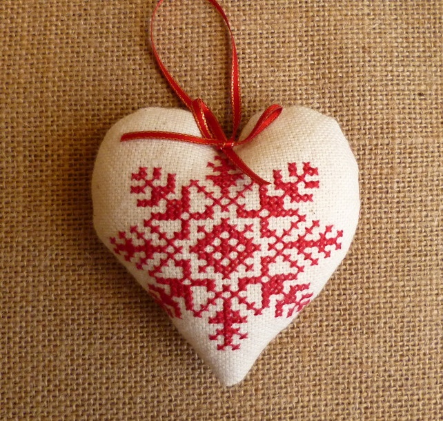 Snowflake Cross Stitch Tree Decoration