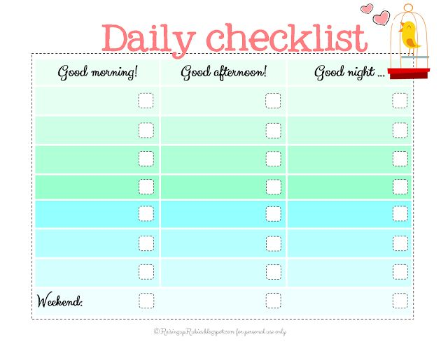 Daily School Checklist  Blank Calendars