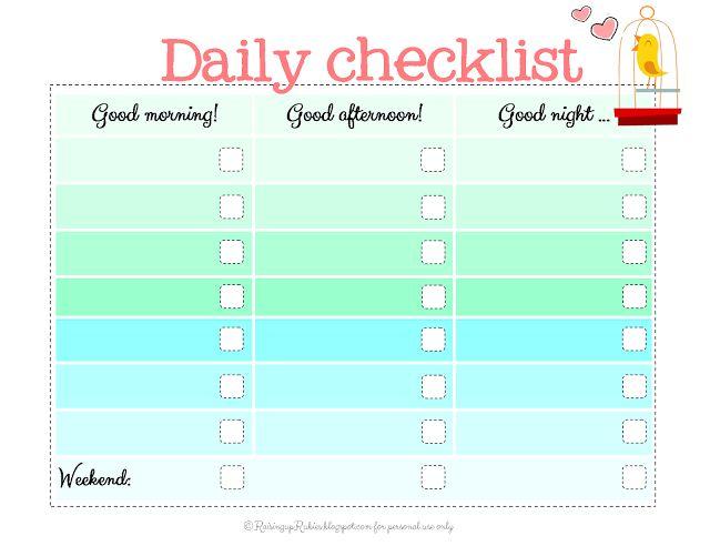 Daily School Checklist  Blank Calendars