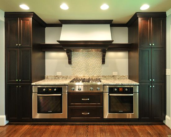 Cooktop with double oven kitchen corner custom pinterest for Corner cooktop designs kitchen