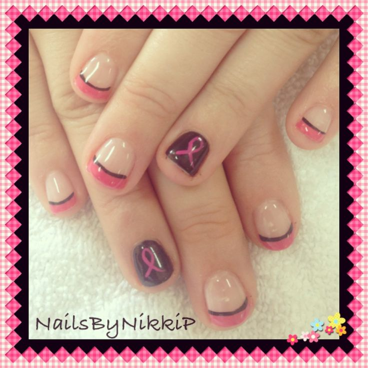 Shellac pink French tips with black line and breast cancer ribbon nail