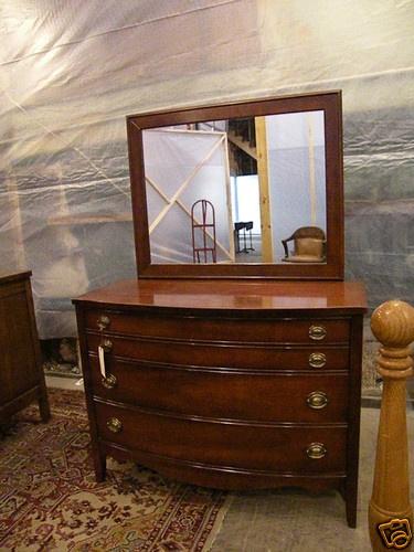 Antique mahogany full queen bedroom suite set dixie furniture for Ebay bedroom suites