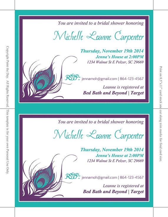Peacock Bridal Shower Invitation Wedding by PaintTheDayDesigns