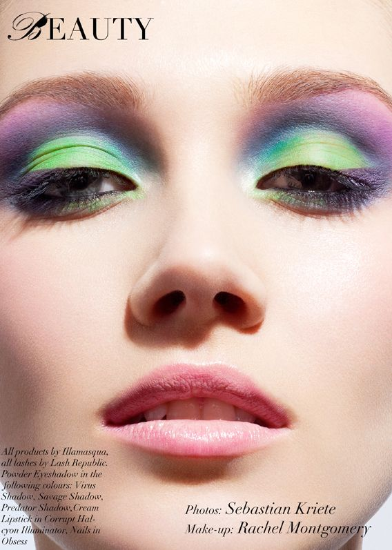 beauty photo green and purple eye makeup