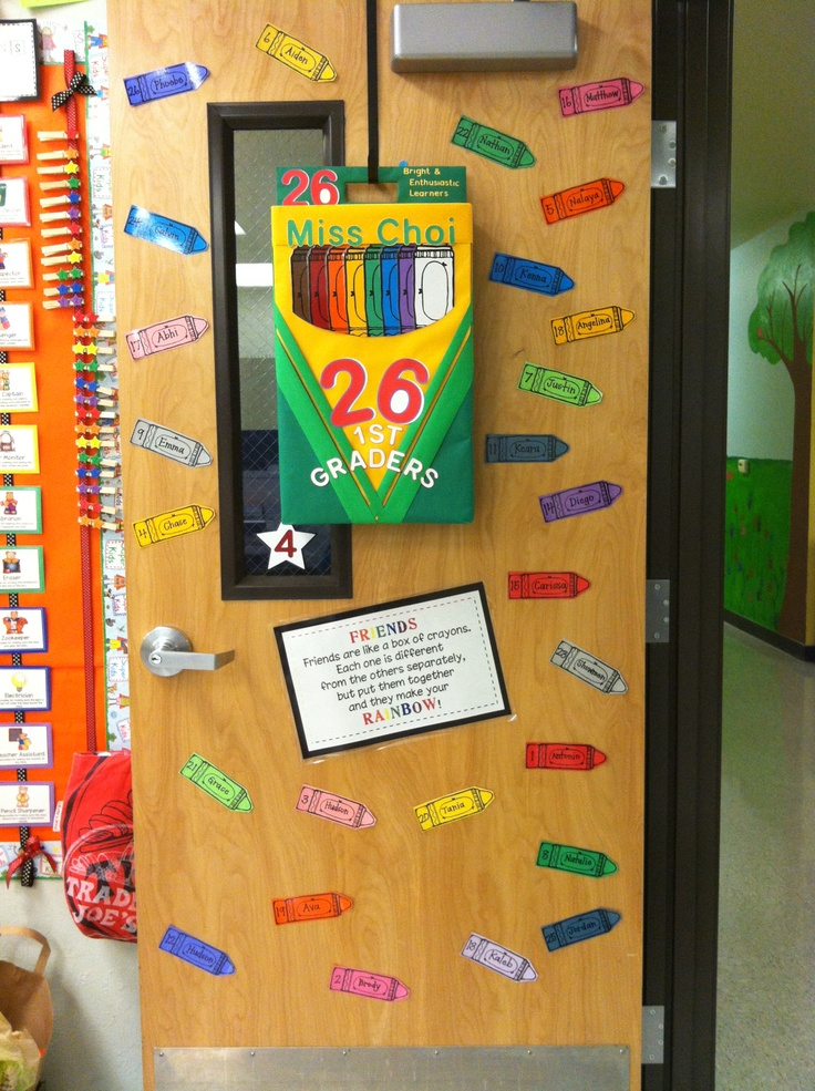 """Another pinner said: I made a crayon box door wreath for my rainbow-colored classroom. It will go great with the story, """"The Crayon Box That Talked."""""""