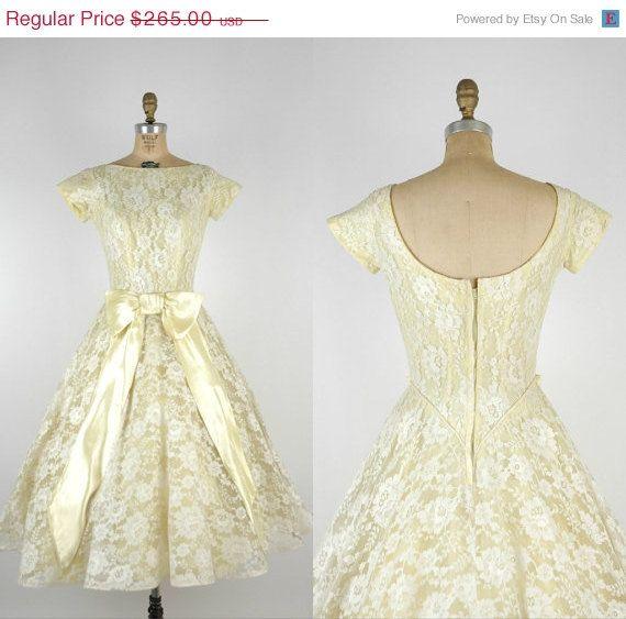 1950s lace wedding dress vintage yellow alternative wedding dress