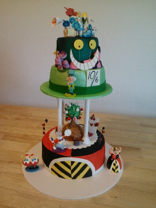 Alice in Wonderland cake. White cake with chocolate chip cookie dough ...