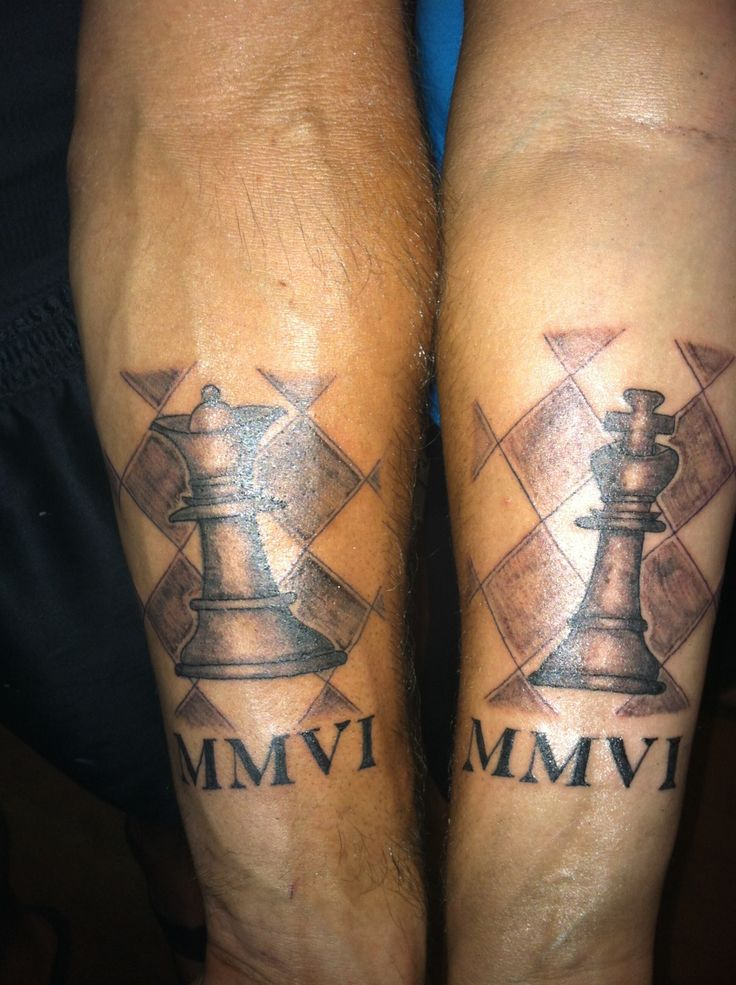 King and Queen Chess Piece Tattoos