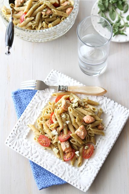 Whole Wheat Pasta Salad Recipe with Salmon, Tomatoes & Herb Dressing ...