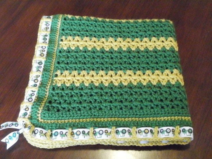 NEW Handmade Crochet Baby Blanket Afghan John Deere Inspired