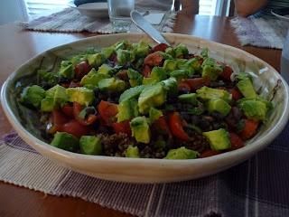 "The Loaded Bowl"" - quinoa, black beans, tomatoes, cilantro, avocado"