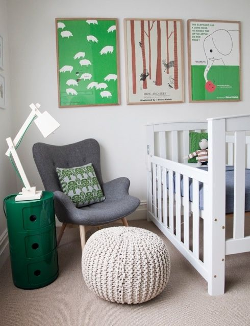 modern nursery with white, gray, and emerald green