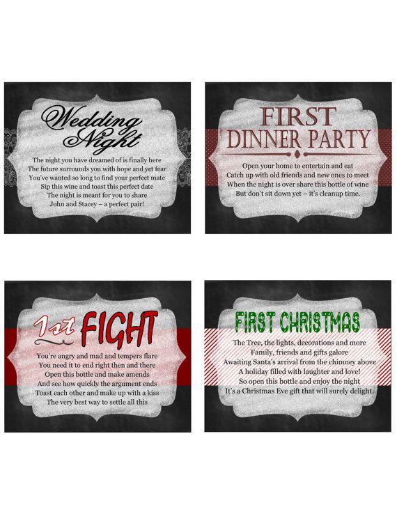 Set of 12 Bridal Shower Wine Poem Labels OR by LittleTouchDesigns, $15 ...