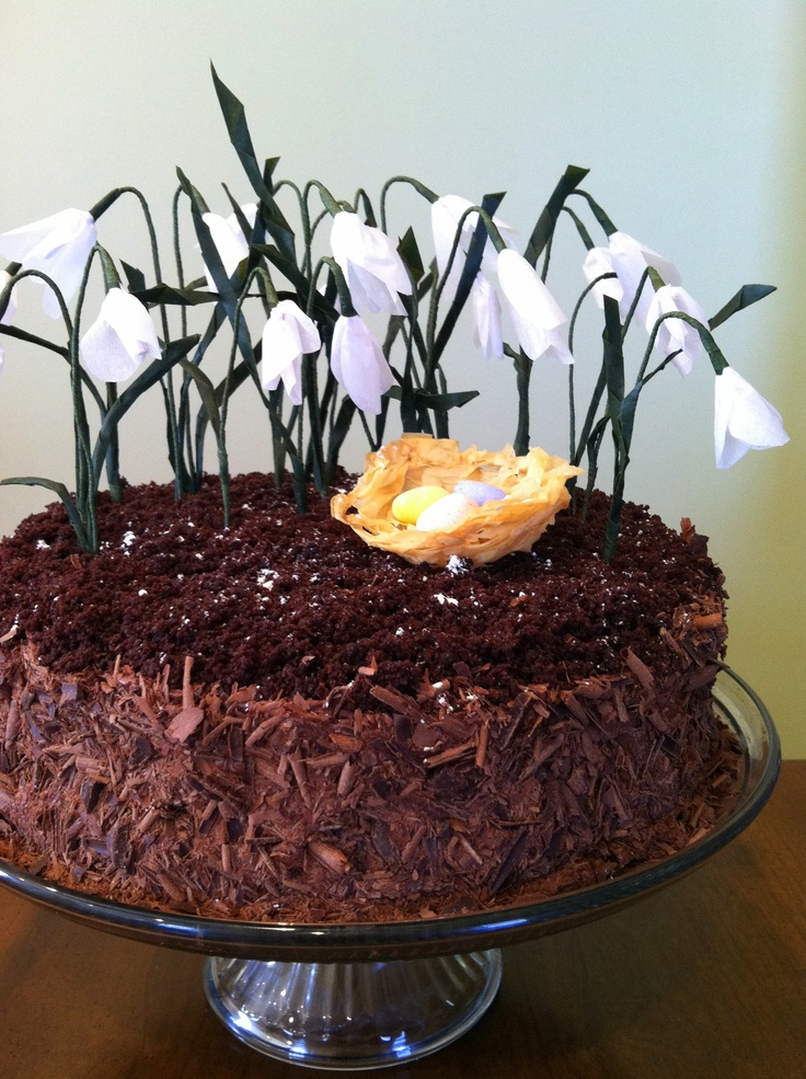 Chocolate Cake with Crepe Paper Flowers and a Phyllo Nest | Recipe