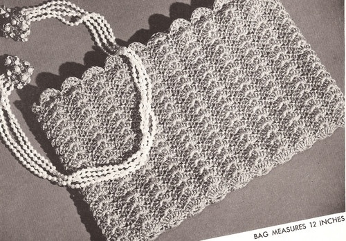 Vintage Crochet Clutch Pattern : Vintage Crochet PATTERN to make Evening Bag Purse Flat Shell Stitch C ...