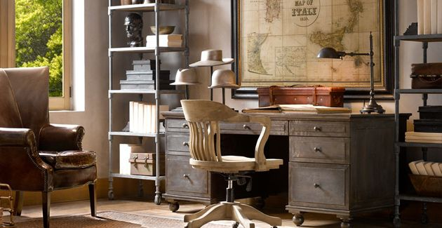 office restoration hardware office pinterest