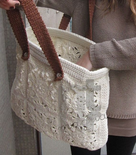 Crochet Granny Square Purse Pattern : Borsona Varenna crochet tote bag pattern by NTmagliaCrochet