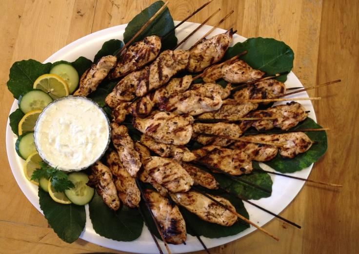 Greek Chicken Skewers with Tiziki | delicious goodies | Pinterest