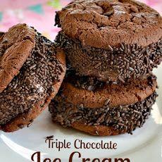 Triple Chocolate Ice Cream Sandwich | Food! | Pinterest